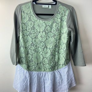 Logo by Lori Goldstein lace front peplum top Small